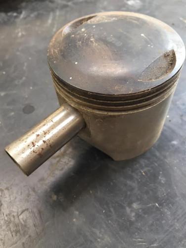 Old Ariel piston before vapour blasting