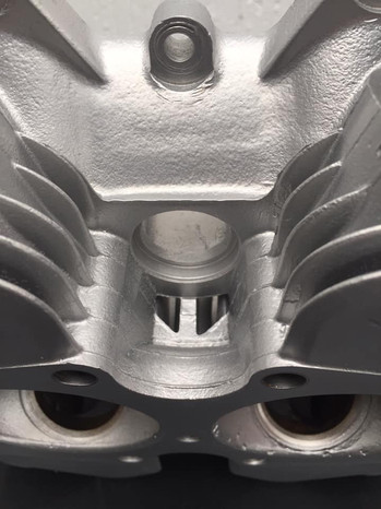 Vapour blasted Triumph twin cylinder head