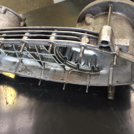 Lambretta engine casing before vapour blasting
