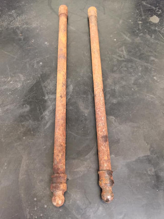 Old Brit bike push rods pre vapour blasting