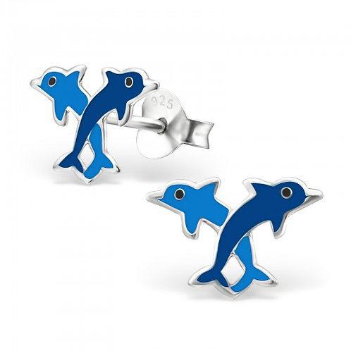 Blue Dolphin   sterling sliver ear stud