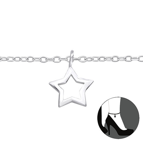 Sterling Silver Anklet with Outline Star Charm