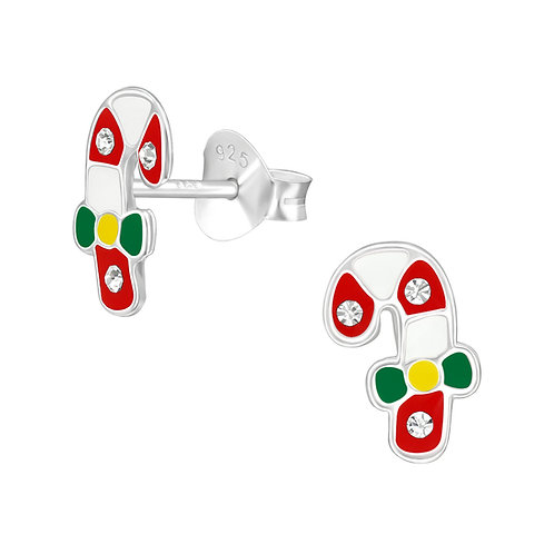 Colourful Crystal Christmas Candy Canes Ear Studs