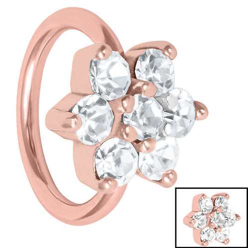 Rose Gold on Steel Claw set Flower Cartilage Ring