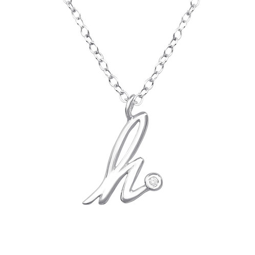 "Sterling Silver Necklace with ""h"" Pendent"
