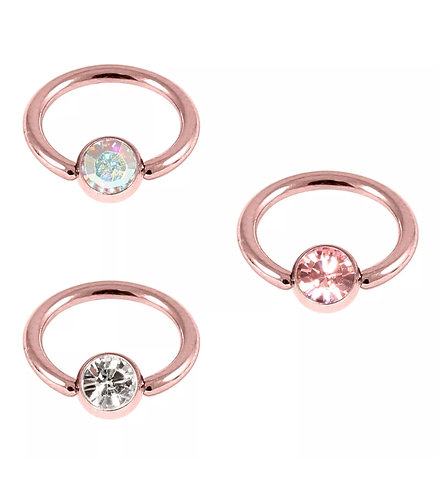 Rose Gold on Steel Ball Closure Ring with jewel 1.6 8mm