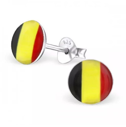 Rounded Belgium Flag Ear Stud