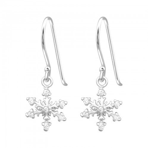 Crystal Clear Snowflake Sterling SilverHook Earrings