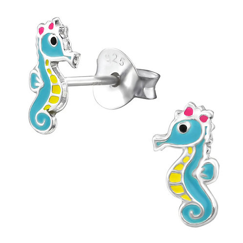 Colour Light Blue and Yellow Seahorse  Sterling Silver Ear Studs