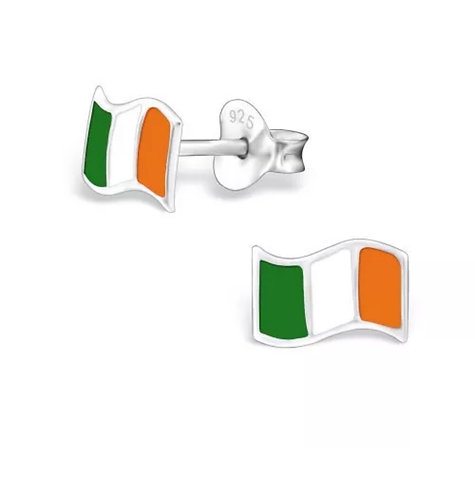 Colourful  IRE Flag Sterling Sliver Ear Studs