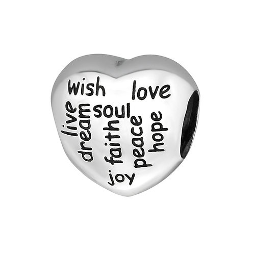 Positive Words Beaded Charm