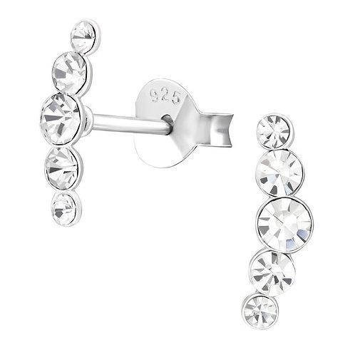 5 jewel sterling silver ear studs