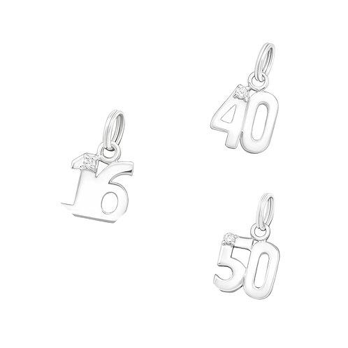 Number Sterling Silver Split Ring  Charm