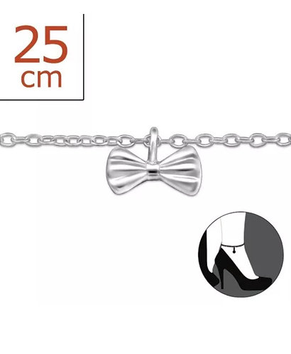 Sterling Sliver anklet with Bow charm