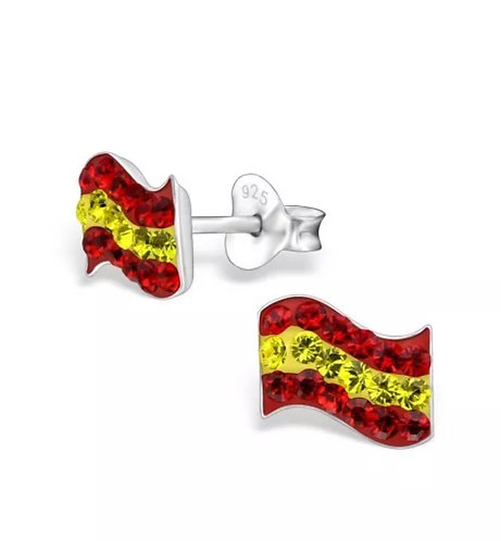 Crystal Spanish  Flag  Ear Studs