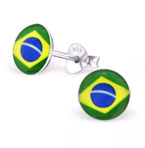 Rounded Brazilian  Flag Ear Stud