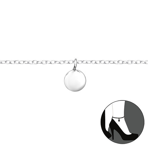 Sterling Silver Anklet with Circle Charm