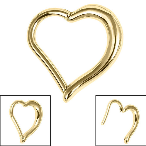 Heart Hinged Gold Plated  Surgical steel   Clicker Ring