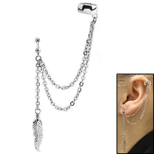 Surgical Steel Double Chain with Feather Ear Cuff