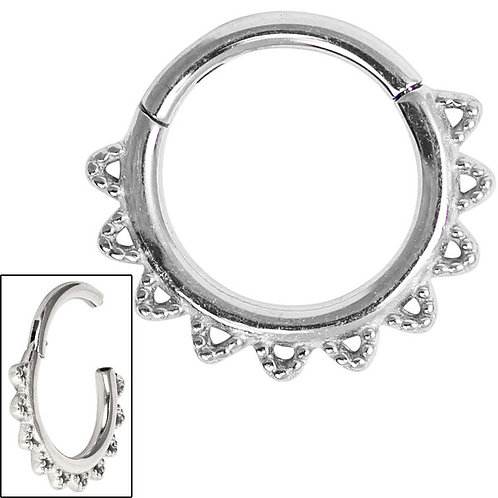 Surgical Steel Filigree Lace  Clicker Ring
