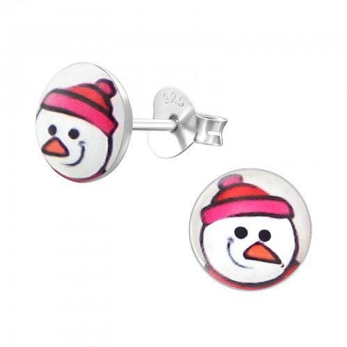 Snowman Sterling Silver Ear Studs