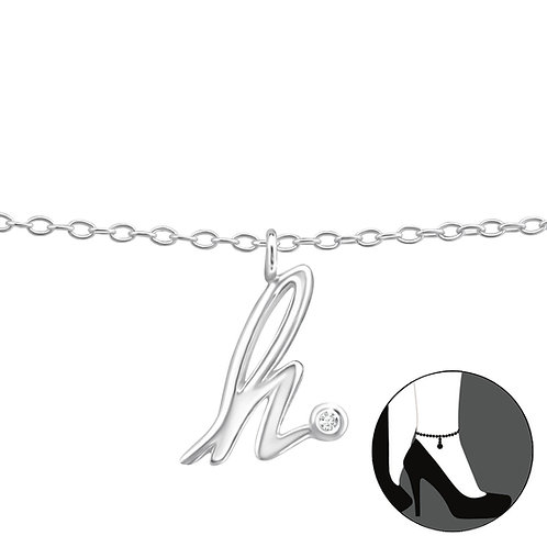 "Sterling Silver Anklet with ""h"" Charm"