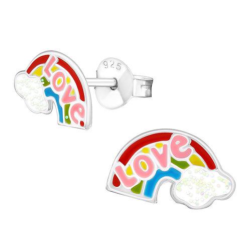 Love Rainbow Sterling Silver Ear Studs