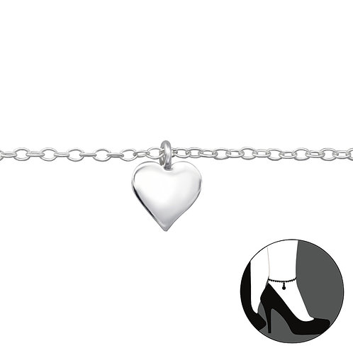 Silver Anklet with Heart Charm