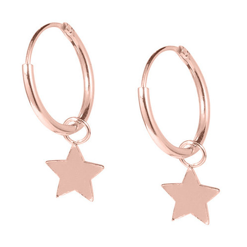Rose Gold plated Sterling Silver Hoops with Stars