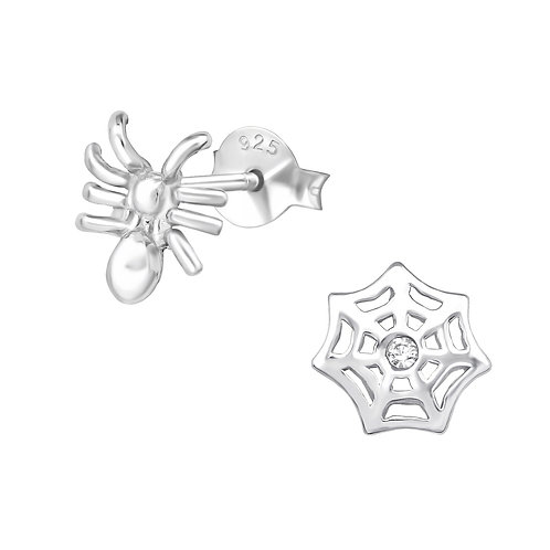 Spider & Web Sterling Silver Ear Studs