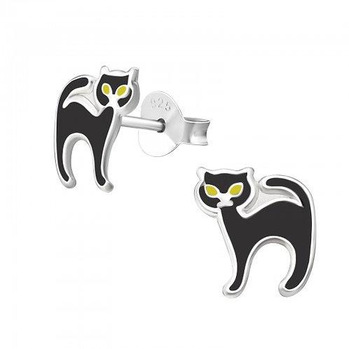 Green eyed black cats  Ear Studs