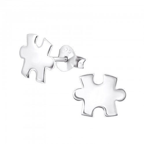 Puzzle Piece sterling sliver ear studs