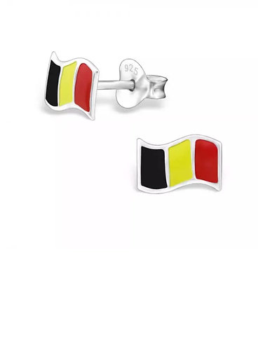 Colourful  Belgium  Flag Sterling Sliver Ear Studs