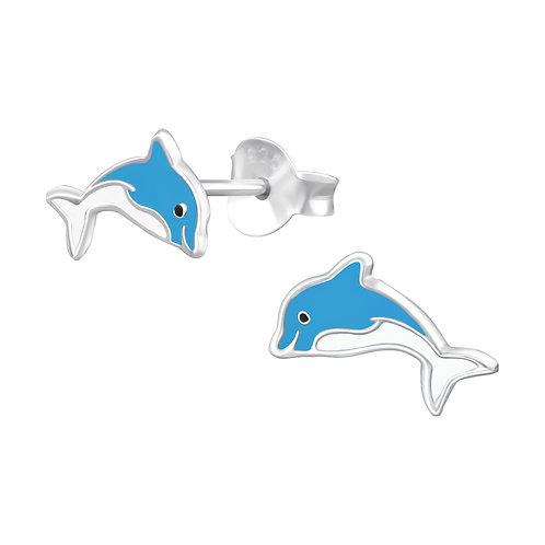 Colourful Dolphin Sterling Silver Ear Studs