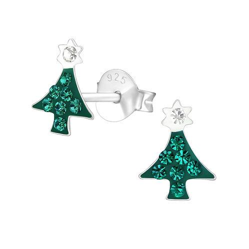Green Crystal Christmas Tree Ears Studs