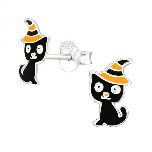 Cat in Witch Hat Sterling Silver ear studs
