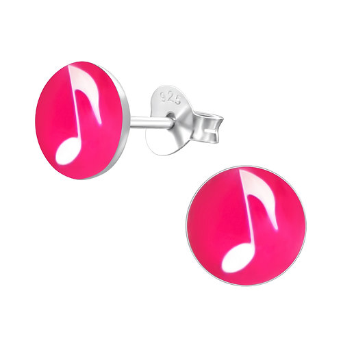 White Music Notes  Sterling Sliver Ear Studs