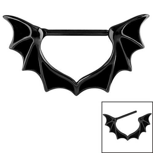 Black Steel Bat Wing Nipple licker