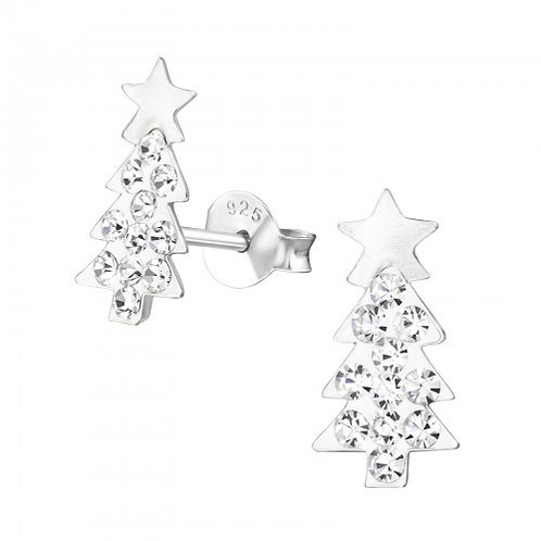 Crystal Christmas Tree Sterling Silver Ears Studs