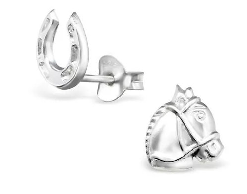 Horse and Horseshoe Sterling Sliver Ear Studs