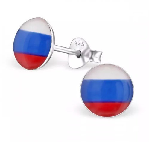 Rounded Russian Flag Ear Stud