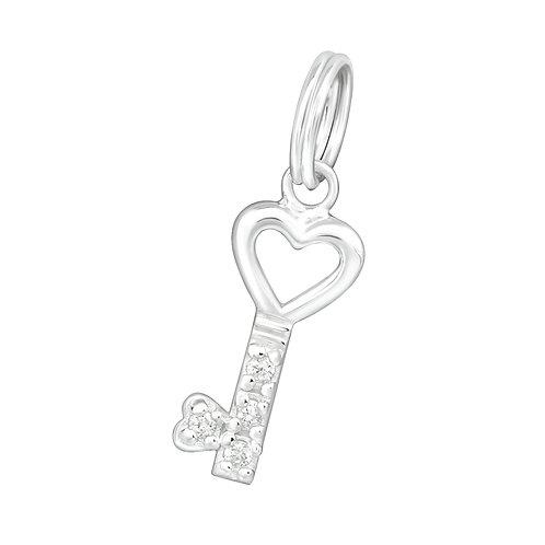 Jewelled Key Sterling Silver Split Ring Charm