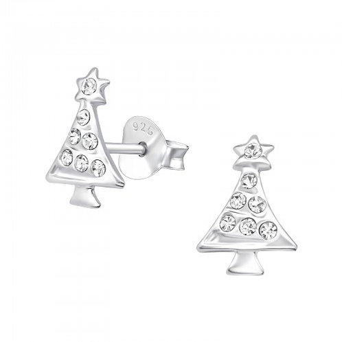 Crystal Christmas Tree Sterling Silver Ear studs