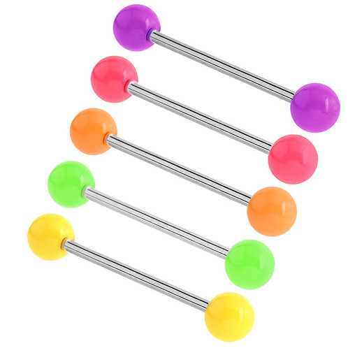 Neon Acrylic Barbell 1.6 gauge 14mm Length Choose colour of balls