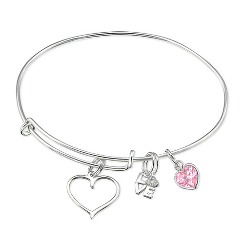 Sterling Silver Charm Bracelet with 3 Charms