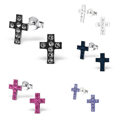 Sterling Sliver Crystal Cross Ear Studs