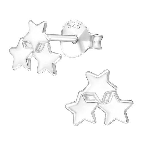3 Star Sterling Silver Ear Studs