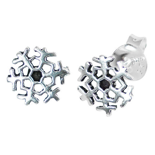 Sterling Silver Snowflake  Ear Studs