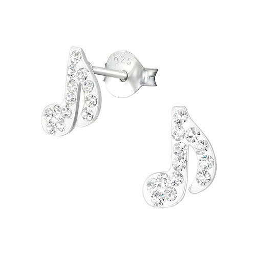 Crystal Music NotesSterling Silver Ear Studs