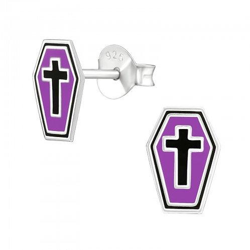 Purple Coffin Ear Studs